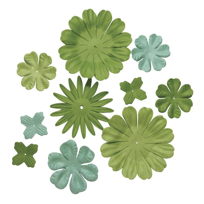 Ass. De fleurs en papier vert moyen 2,5 à 7 cm
