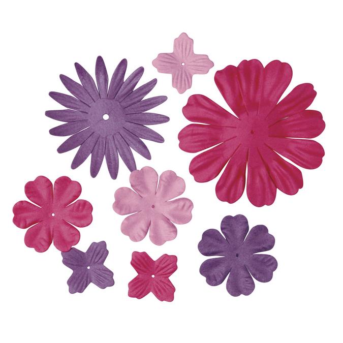 Ass. De fleurs en papier rose foncé 2,5 à 7 cm