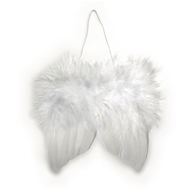 Ailes d'anges blanches en plumes 10 cm