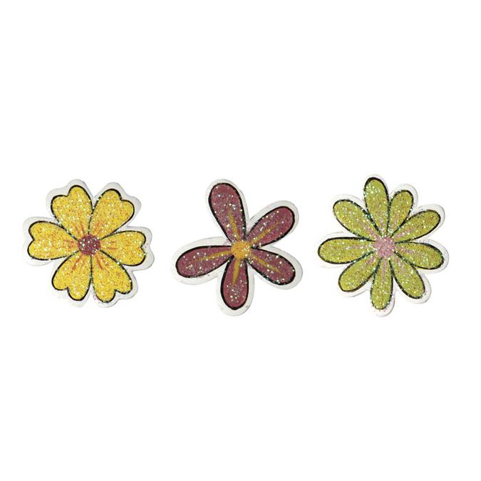 Fleurs pailletées en bois 2,5 cm