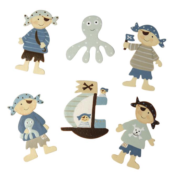 Enfants pirates en bois 3,7 x 5 cm