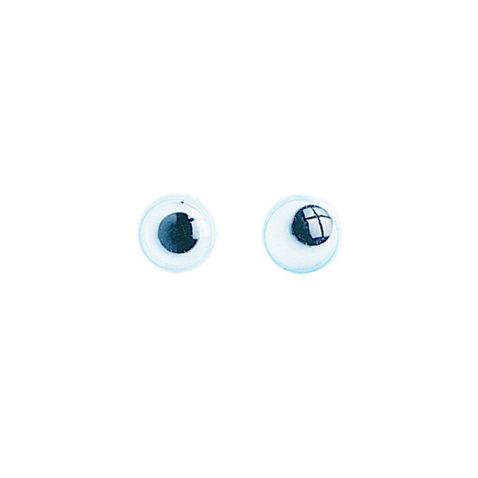 Yeux ronds avec pupilles mobiles à coudre 8 mm