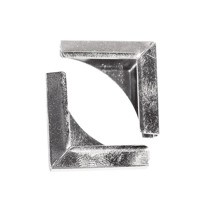 Coins en métal argent 21 x 21 mm