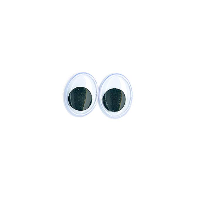 Yeux ovales avec pupilles mobiles 10 mm