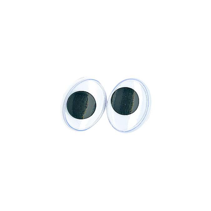Yeux ovales avec pupilles mobiles 12 mm