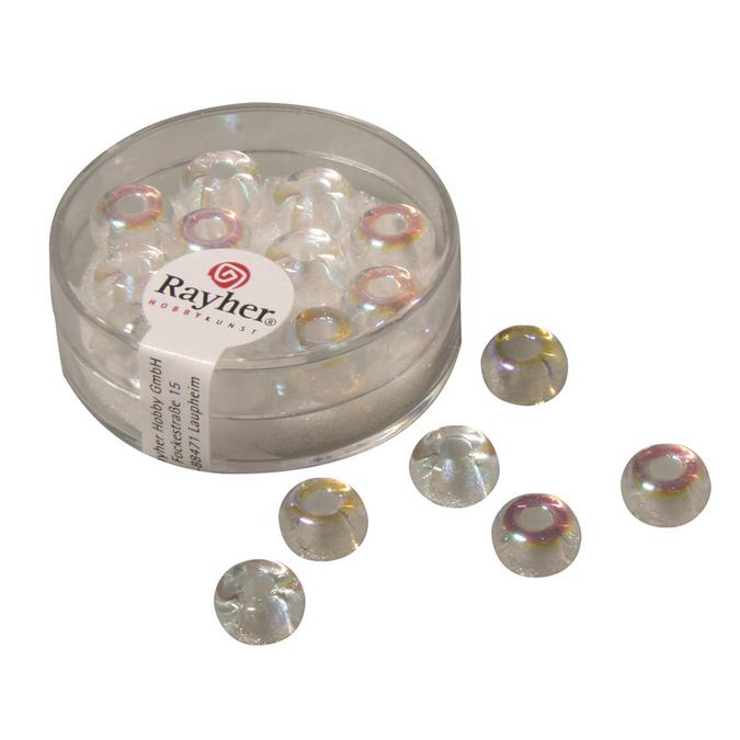 Perles en verre transparentes à grand trou 9 mm x 14 pces