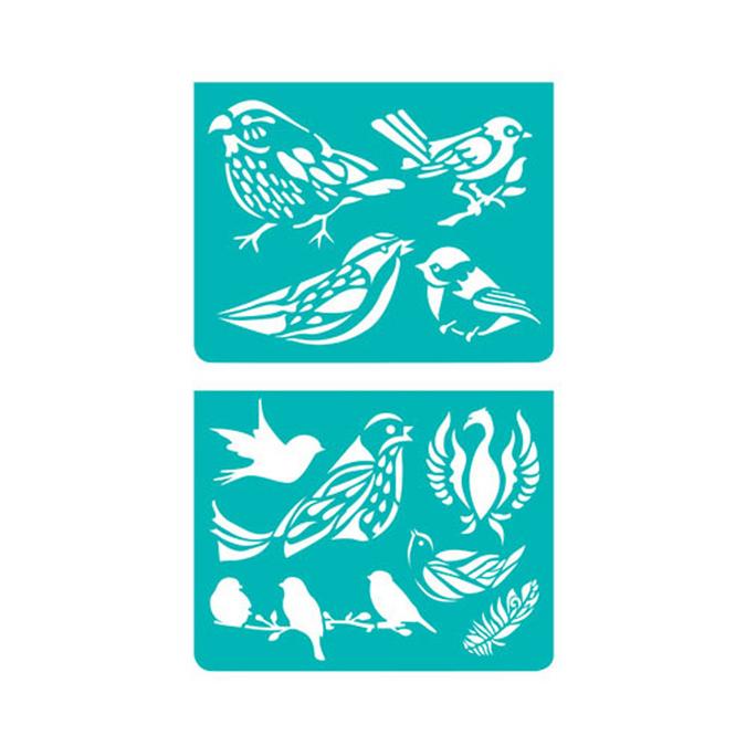 Mini pochoirs oiseaux x 2 pces