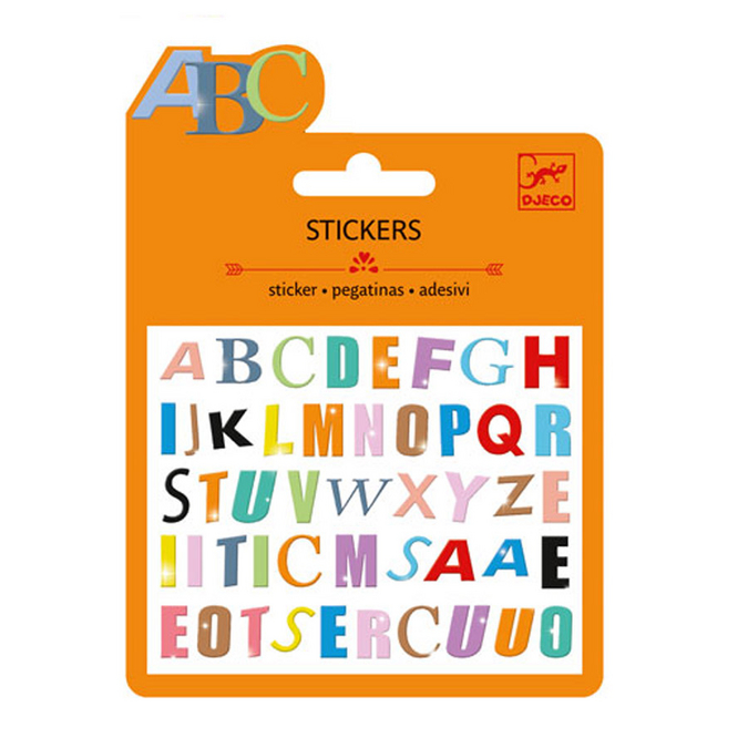 Mini stickers puffy lettres colorées x 47 pcs