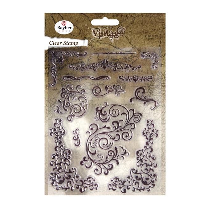 Set de 13 tampons clear vintage swirls