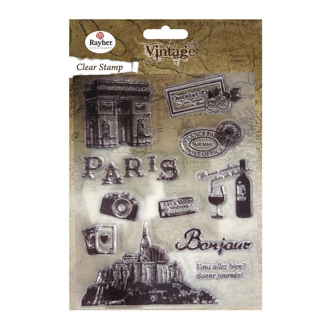 Set de 11 tampons clear vintage Paris