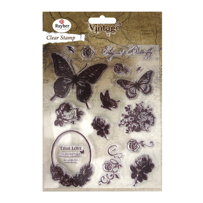 Set de 18 tampons clear vintage butterfly