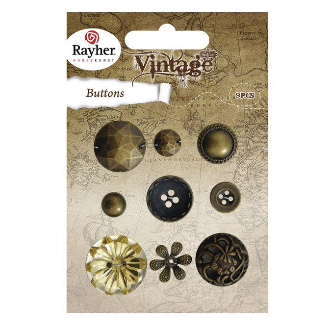 Boutons vintage or