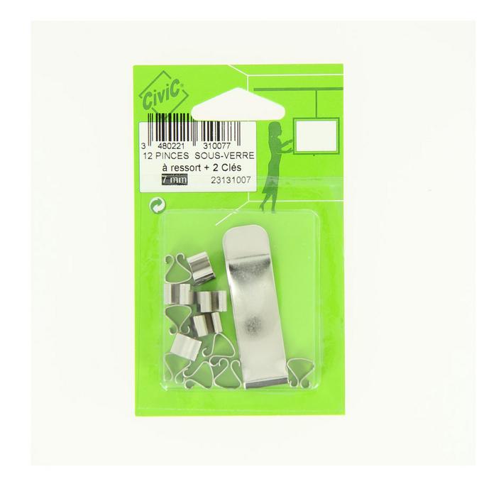 Pince pour sous verre 7 mm par 10 avec clés