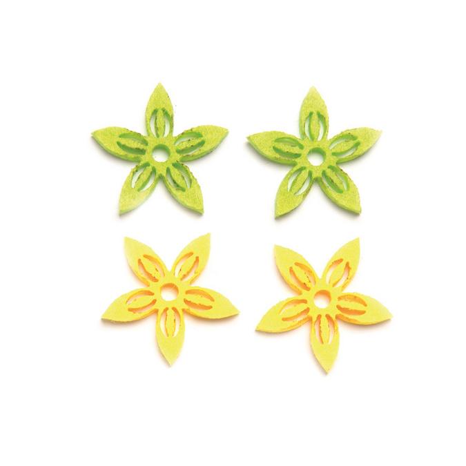 Fleurs en feutrine jaune et vert x 12 pcs