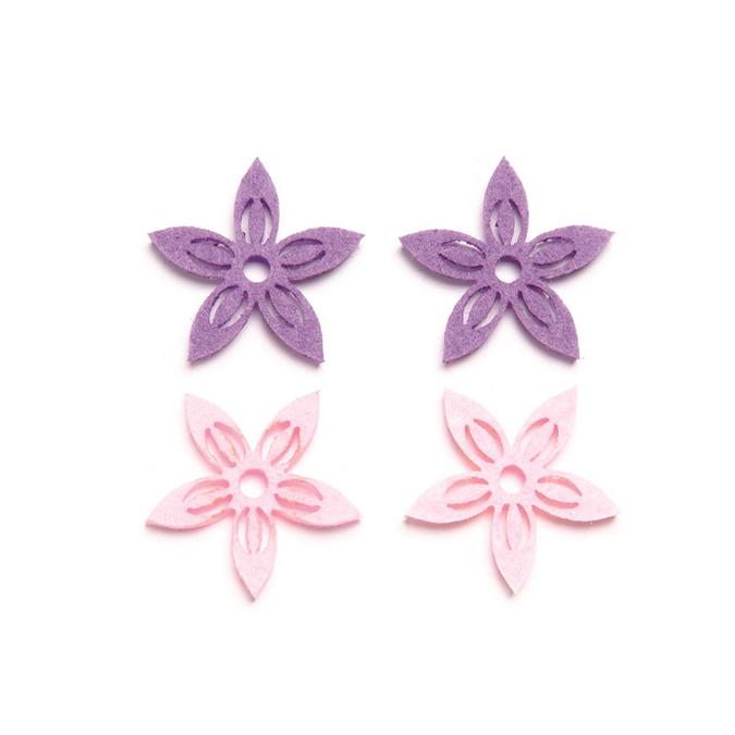 Fleurs en feutrine rose et violet x 12 pcs