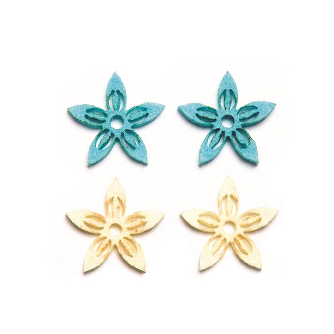 Fleurs en feutrine bleu et ivoire x 12 pcs