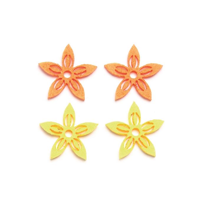 Fleurs en feutrine jaune et orange x 12 pcs
