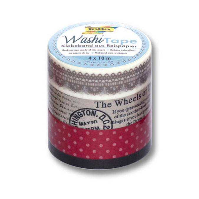 Washi Tape vintage 10 m x 4 pcs