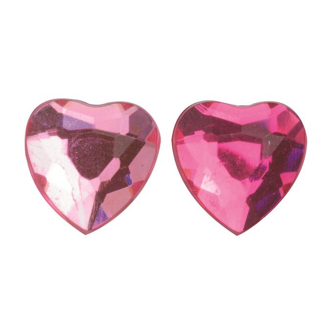 Strass adhésifs cœurs rose / rouge clair Ø 10 mm