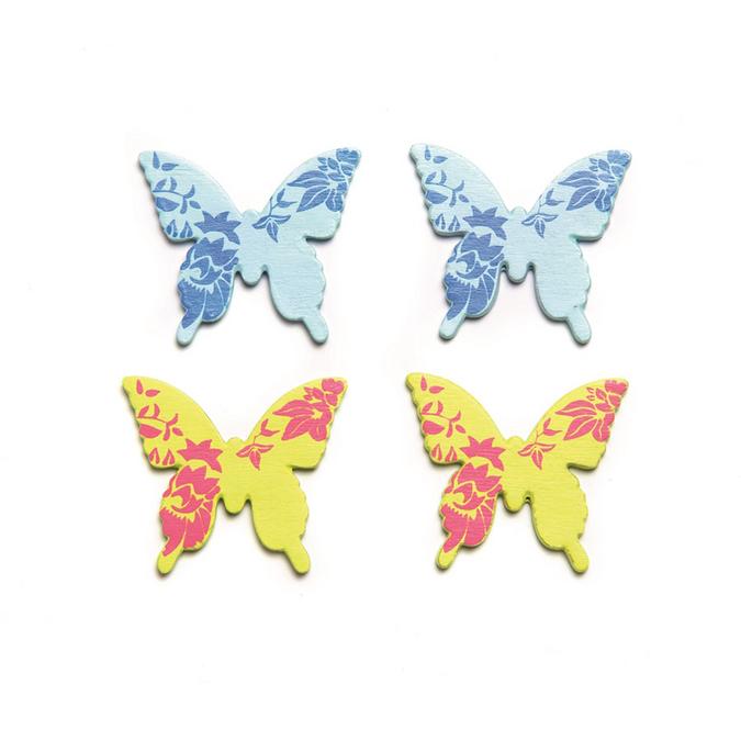 Papillons bleu vert en bois 3 x 2,8 cm x 9 pcs