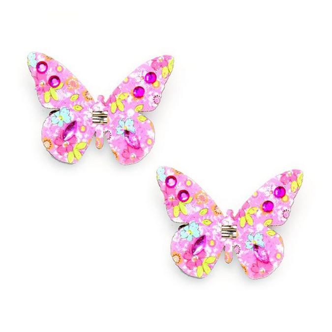 Papillons avec diamants roses 5 x 4 cm
