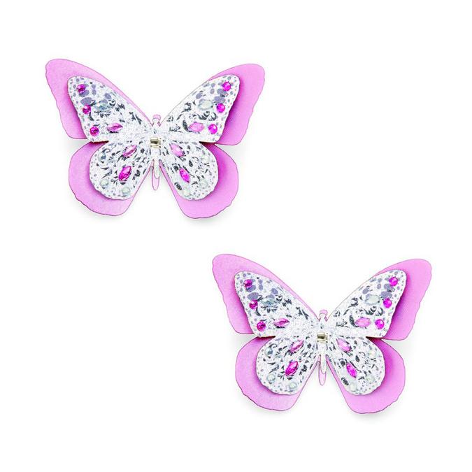 Papillons avec diamants blancs et roses 5 x 4 cm