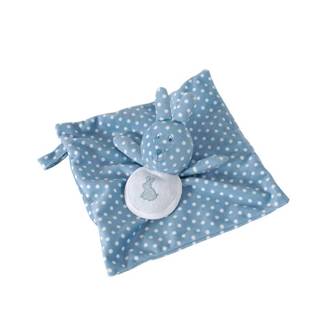 Doudou à broder Lapin - 24 x 24 cm Bleu