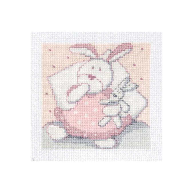 Kit de point de croix - 11 x 11 cm Lapin rose