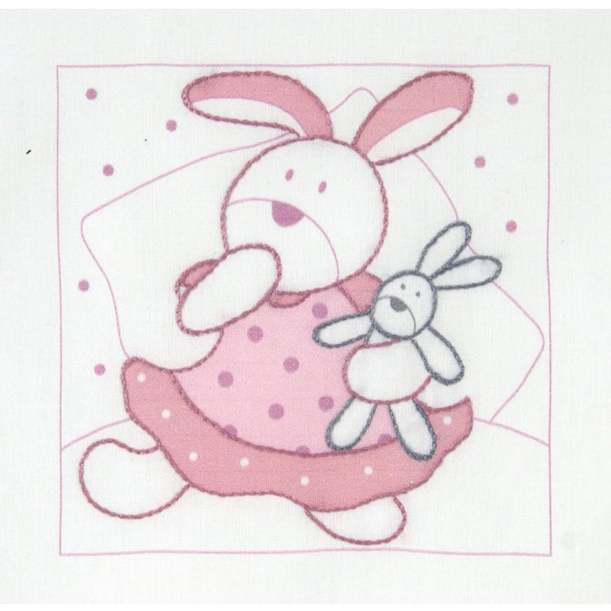 Kit broderie traditionnelle - 11 x 11 cm Lapin rose