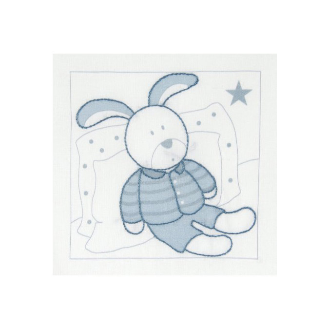 Kit broderie traditionnelle - 11 x 11 cm Lapin bleu
