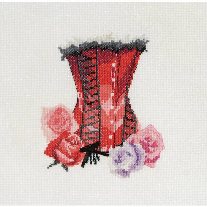 Kit de point de croix - Bustier lacé ruban noir - 15 x 20 cm