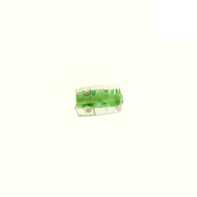 Perle en verre cylindrique trou centre fleuri vert anis - 10 x 16 mm