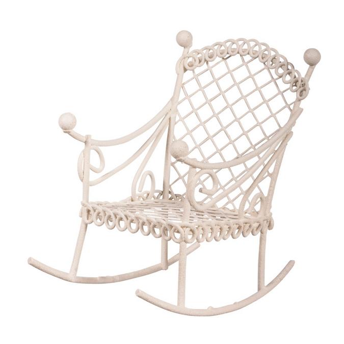 Chaise à bascule blanche 5,3 x 8 x 7,5 cm