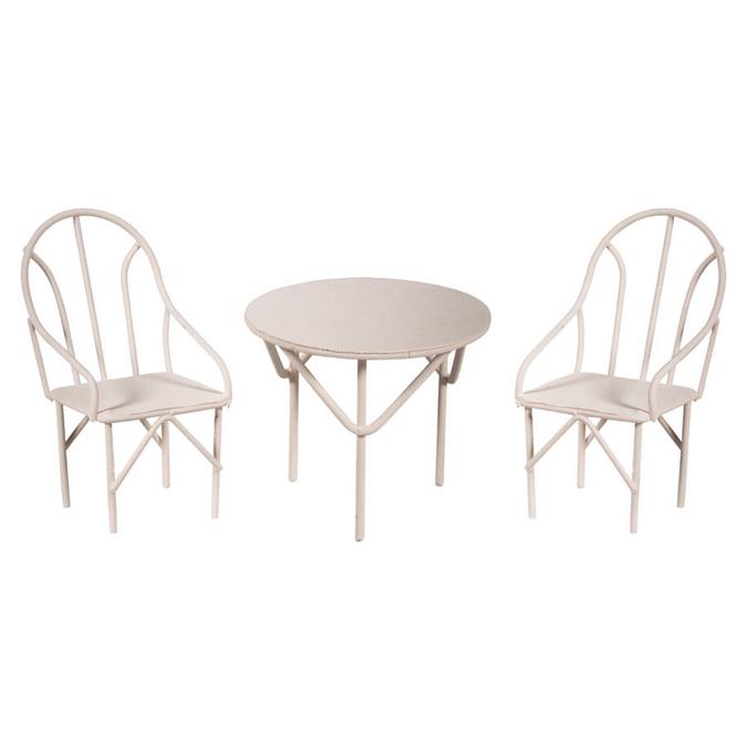 Dînette blanche 2 chaises + 1 table