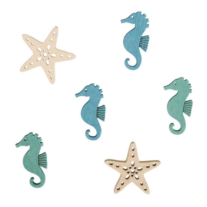 Miniatures étoiles de mer + hippocampe 3 cm - 15 pcs