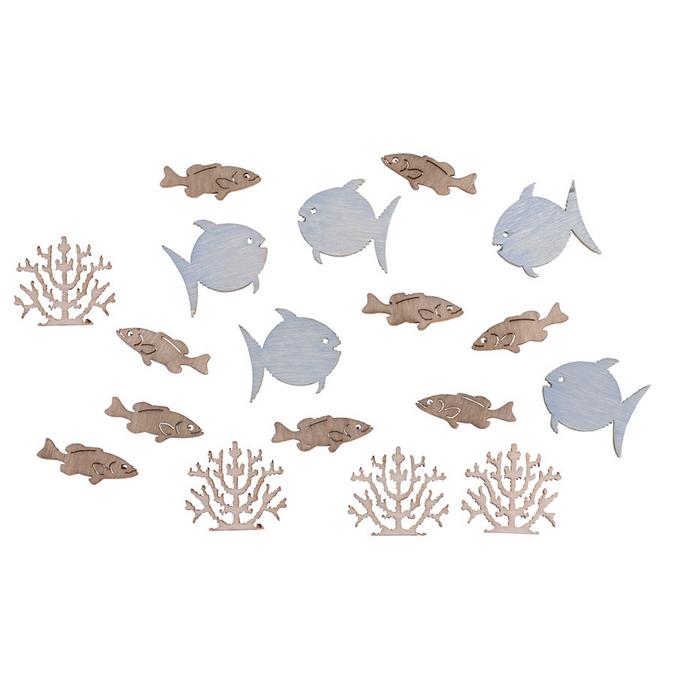 Miniatures en bois Poissons + corail 2 cm - 20 pcs