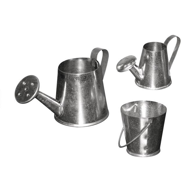 Arrosoirs et sceau miniatures 3 à 5 cm - 3 pcs