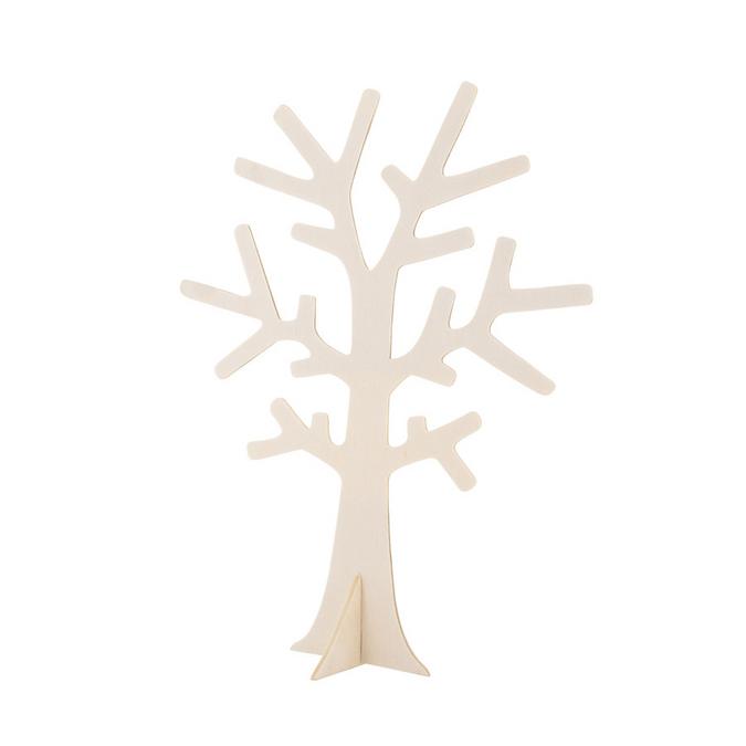Arbre à bijoux à poser en bois - 18 x 22 x 0,3 cm
