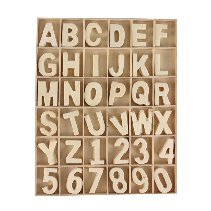 Coffret chiffres et lettres en bois 180 pièces - 19,6 x 24,5 x 1,2 cm