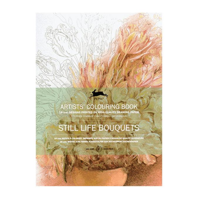 Livre de coloriage multi-techniques Thème Bouquets de fleurs