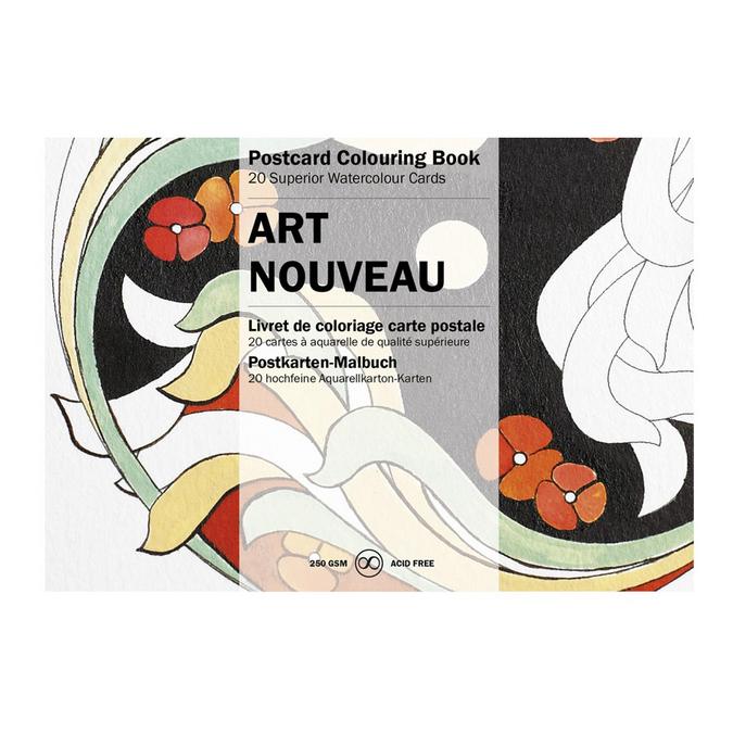 Livre de coloriage Carte Postale Thème Art Nouveau