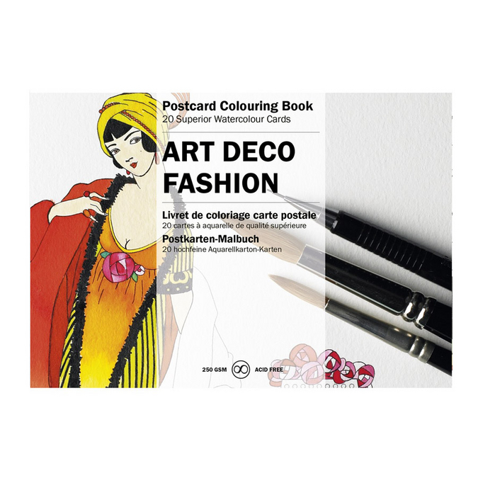 Livre de coloriage Carte Postale Thème Mode Art Déco