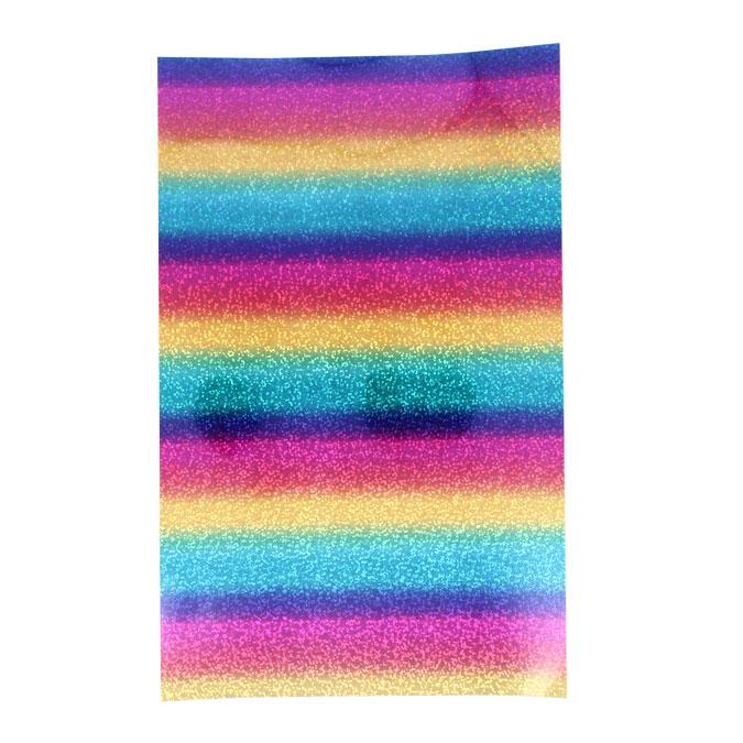 Film vinyle transfert textile thermocollant - Arc en ciel - 34 x 21 cm