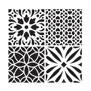 pochoir carreau de ciment 2 30 x 30 cm artemio chez rougier pl. Black Bedroom Furniture Sets. Home Design Ideas