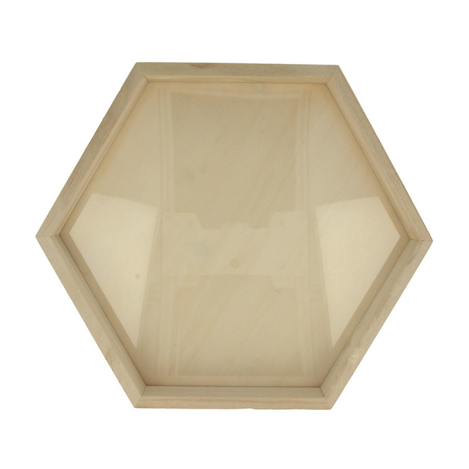 Cadre hexagonale en bois 30 x 26 x 3 cm