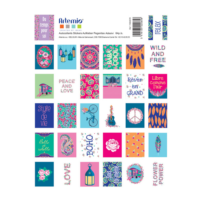 Timbres autocollants Flower Power
