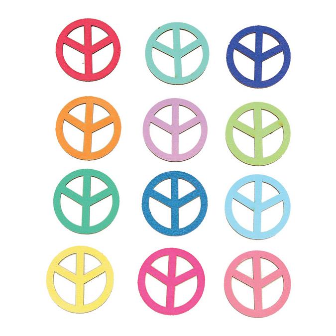 Stickers en bois Flower Power peace & love