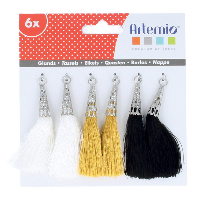 Pompons blancs or noirs x 6 pcs
