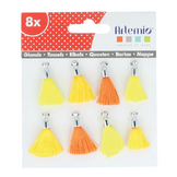 Pompons jaunes orange x 8 pcs