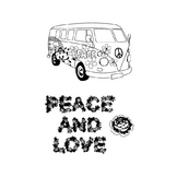Tampon clear Peace & Love 9 x 14 cm